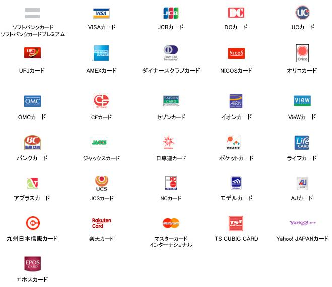ソフトバンク光の支払いで利用可能なクレジットカード一覧
